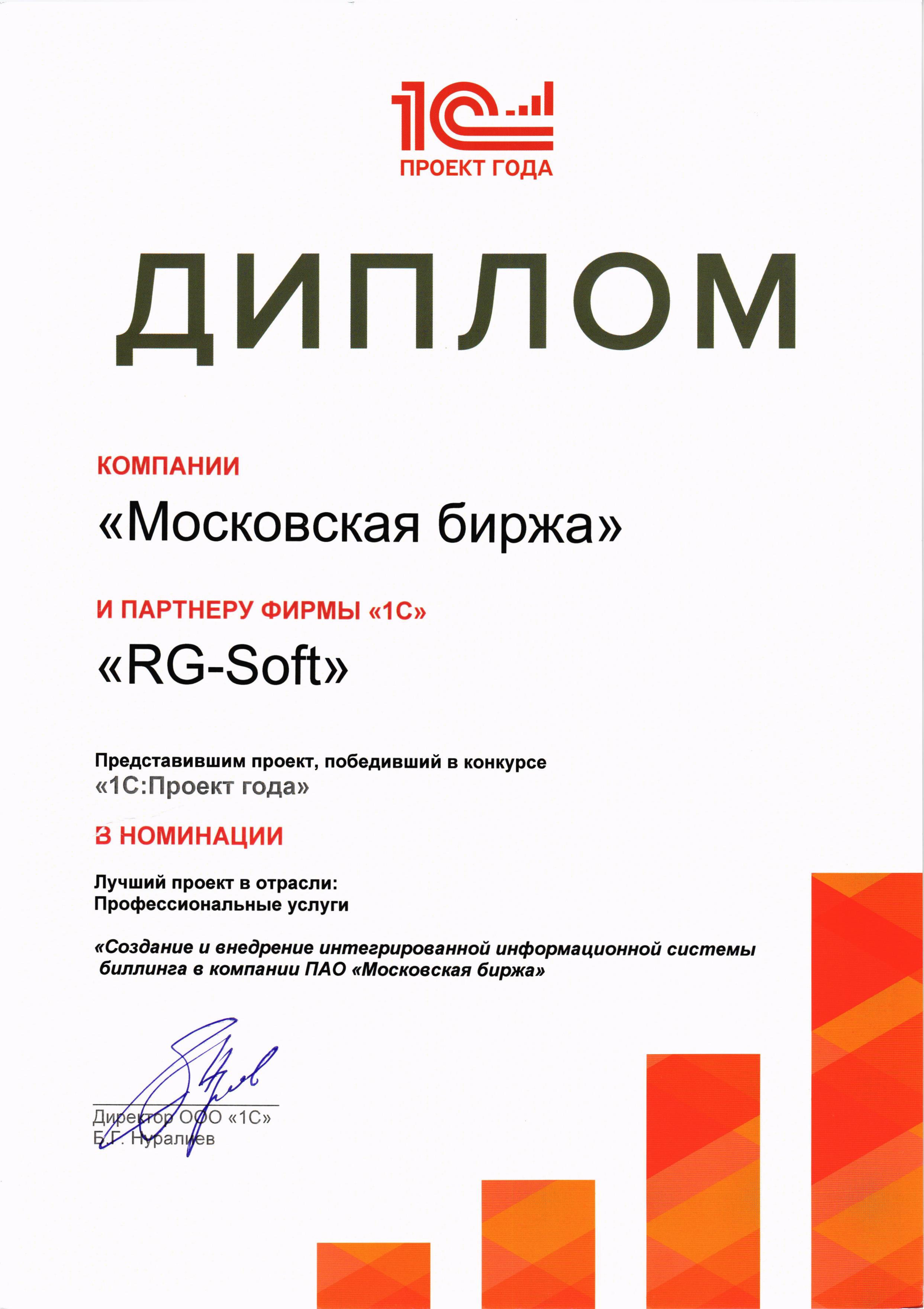 Сертификаты и лицензии Диплом победителя конкурса 1С Проект года